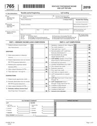 "Form 765 (41A765) ""Kentucky Partnership Income and Llet Return"" - Kentucky, 2019"