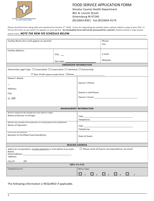 """""""Food Service Application Form"""" - Decatur County, Indiana Download Pdf"""