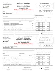 """Form 74A110 """"Kentucky Estimated Insurance Premiums Tax"""" - Kentucky, 2020"""