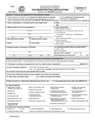 """Form SCDOR-111 """"Tax Registration Application"""" - South Carolina"""