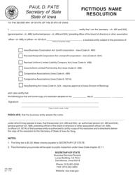 "Form 635_9999 ""Fictitious Name Resolution"" - Iowa"