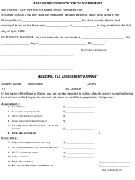 "Form PTA200 ""Assessors' Certification of Assessment and Warrant"" - Maine"