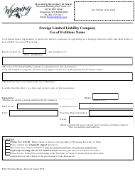 """""""Foreign Limited Liability Company Use of Fictitious Name"""" - Wyoming"""