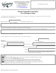 """""""Foreign Nonprofit Corporation Use of Fictitious Name"""" - Wyoming"""