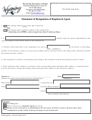 """""""Statement of Resignation of Registered Agent"""" - Wyoming"""