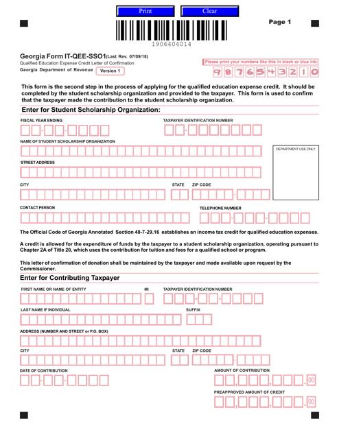 Form IT-QEE-SSO1  Printable Pdf