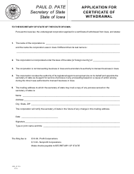 """Form 635_0115 """"Application for Certificate of Withdrawal"""" - Iowa"""