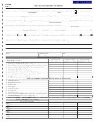 "Form LB-1 (150-504-073-2) ""Notice of Budget Hearing"" - Oregon"