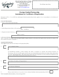 """""""Foreign Limited Partnership Amendment to Certificate of Registration"""" - Wyoming"""