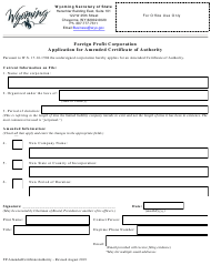 """""""Foreign Profit Corporation Application for Amended Certificate of Authority"""" - Wyoming"""