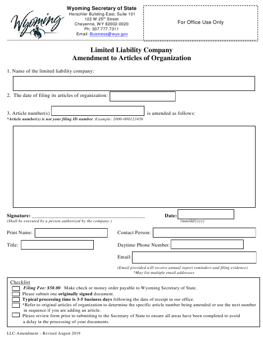 """""""Limited Liability Company Amendment to Articles of Organization"""" - Wyoming Download Pdf"""