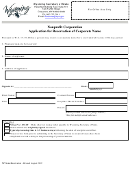"""""""Nonprofit Corporation Application for Reservation of Corporate Name"""" - Wyoming"""