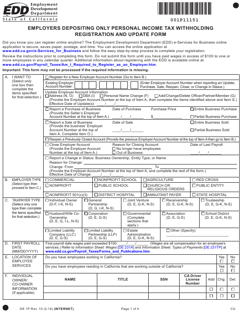 Form DE1P  Printable Pdf