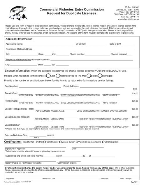 Form 05-15A  Printable Pdf