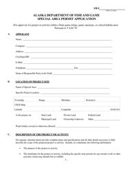 """Special Area Permit Application"" - Alaska"