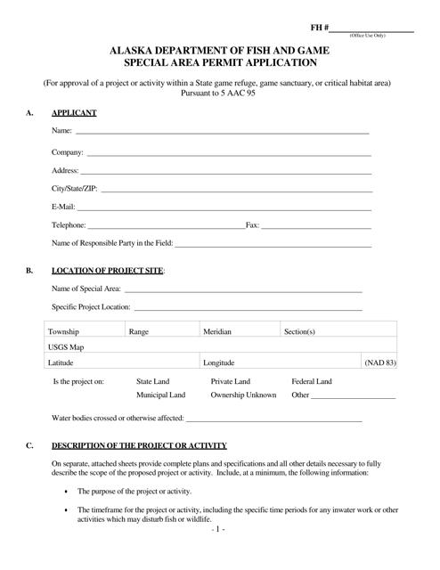 """Special Area Permit Application"" - Alaska Download Pdf"