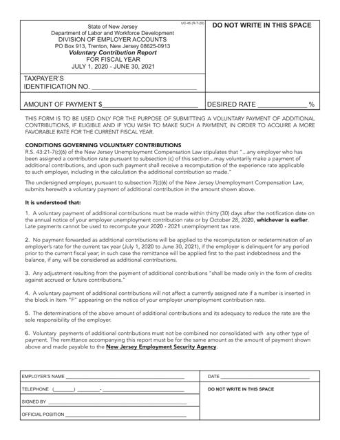 Form UC-45 2021 Printable Pdf