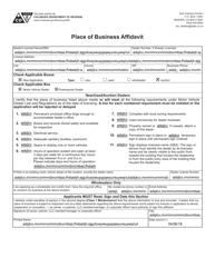 """Form DR2044 """"Place of Business Affidavit"""" - Colorado"""