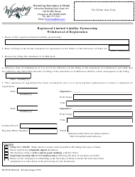 """""""Registered Limited Liability Partnership Withdrawal of Registration"""" - Wyoming"""