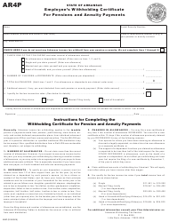 """Form AR4P """"Employee's Withholding Certificate for Pensions and Annuity Payments"""" - Arkansas"""