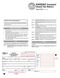 "Form TG-1 ""Kansas Transient Guest Tax Return"" - Kansas"