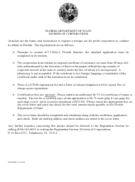 """Form CR2E021 """"Application by Foreign Not for Profit Corporation for Authorization to Conduct Its Affairs in Florida"""" - Florida"""