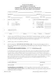 "Form DH1576 ""Application for Air Ambulance Permit"" - Florida"