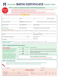 """Oklahoma Birth Certificate Request Form"" - Oklahoma"