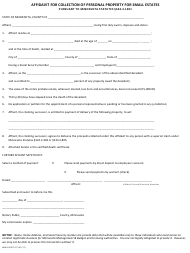 """Form MMB-00375-07 """"Affidavit for Collection of Personal Property for Small Estates"""" - Minnesota"""