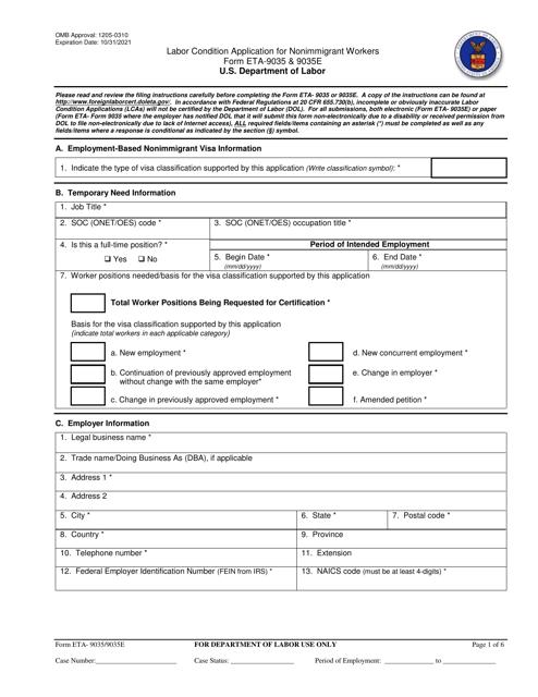 Form ETA-9035/9035E  Printable Pdf