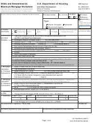 "Form HUD-92700 ""203(K) and Streamlined (K) Maximum Mortgage Worksheet"""
