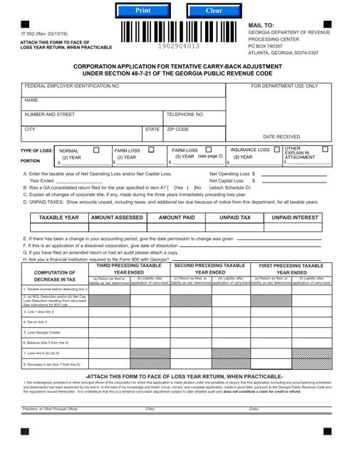 Form IT552  Printable Pdf