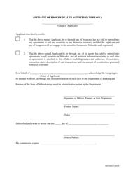 """Affidavit of Broker Dealer Activity in Nebraska"" - Nebraska"