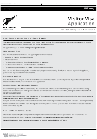 "Form INZ1017 ""Visitor Visa Application for a Temporary Stay in New Zealand"" - New Zealand"