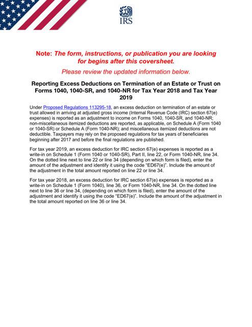 IRS Form 1040-NR 2019 Printable Pdf