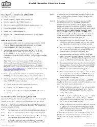 """Form SF2809 """"Health Benefits Election Form"""""""