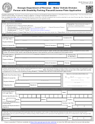 "Form MV-9D ""Person With Disability Parking Placard/License Plate Application"" - Georgia (United States)"
