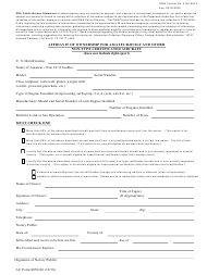 "AC Form 8050-88 ""Affidavit of Ownership for Amateur-Built and Other Non-type Certificated Aircraft"""