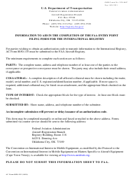 "AC Form 8050-135 ""FAA Entry Point Filing Form International Registry"""