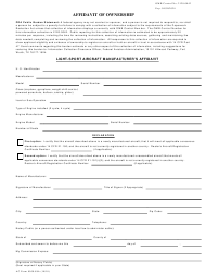 "AC Form 8050-88A ""Light-Sport Aircraft Manufacturer's Affidavit of Ownership"""
