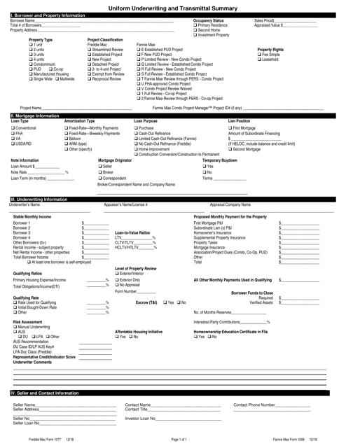 Freddie Mac Form 1077  Printable Pdf