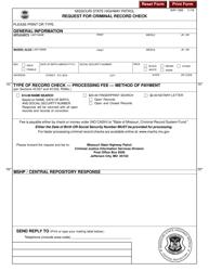 "Form SHP-158S ""Request for Criminal Record Check"" - Missouri"