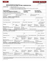 "Form 812-1321 ""Application for Crime Victims' Compensation"" - Missouri"