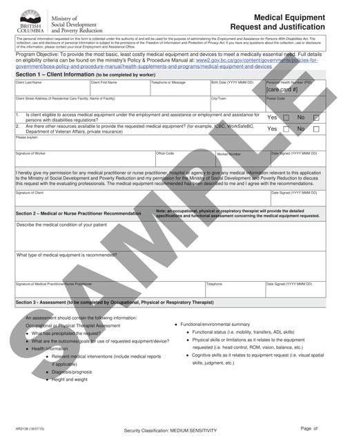 Form HR2138 Printable Pdf