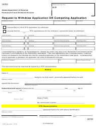 """Form 18703 """"Request to Withdraw Application or Competing Application"""" - Alaska"""