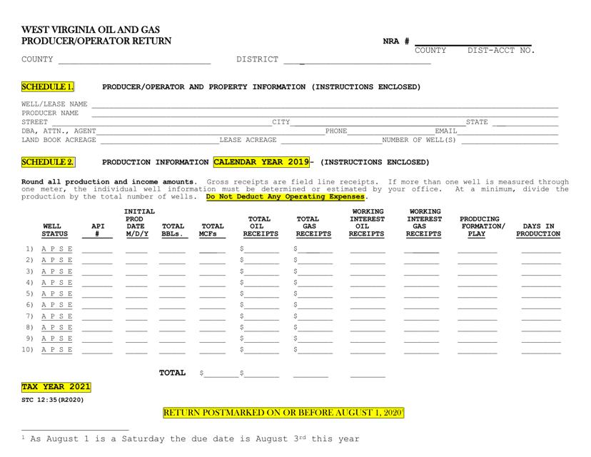 Form STC12:35 2021 Printable Pdf