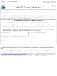 "Form AD-1050 ""Certification Regarding Drug-Free Workplace Requirements (Grants) Alternative Ii - for Grantees Who Are Individuals"""