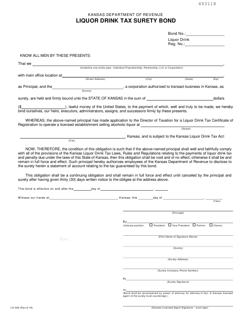 Form LD-400 Printable Pdf