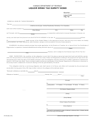"Form LD-400 ""Liquor Drink Tax Surety Bond"" - Kansas"