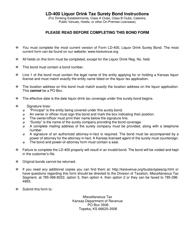 "Form LD-400 ""Liquor Drink Tax Surety Bond"" - Kansas, Page 2"